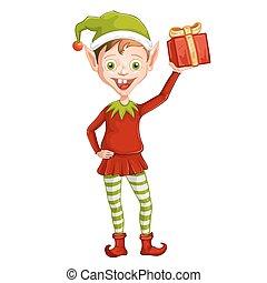 carino, elfo, natale