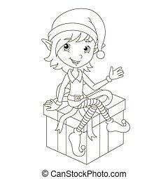 carino, elfo, regalo natale, seduta