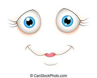 carino, espressione, cartone animato, faccia