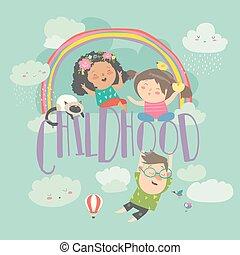 carino, estate, rainbow., fondo, childhood., bambini, felice