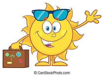 carino, estate, sole, con, occhiali da sole