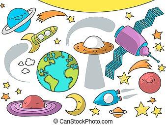 carino, esterno, cartone animato, spazio