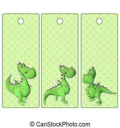 carino, etichette, drago, verde, bookmarks, o