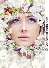 carino, faccia femmina, tra, il, petali