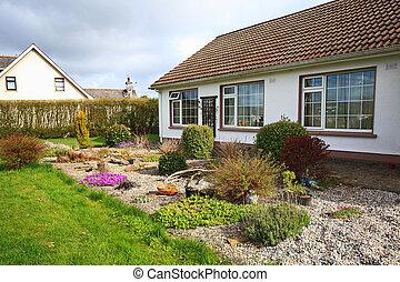 carino, famiglia, casa, giardino