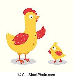 carino, famiglia, illustrazione, vettore, disegno, pollo