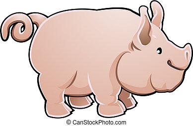 carino, fattoria maiale, animale, vettore, illustrazione