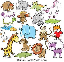 carino, fauna, vettore, set, animale