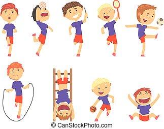 carino, felice, ragazzi, fare, sport, set., attività, bambini, gioco, colorito, cartone animato, illustrazioni