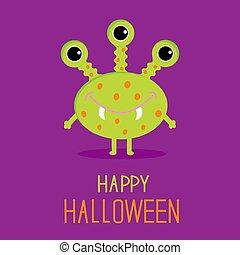 carino, felice, verde, scheda, cartone animato, halloween, monster.