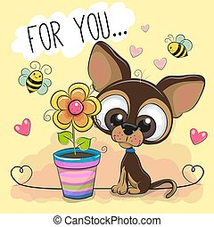 carino, fiore, fondo, arancia, cucciolo, cartone animato