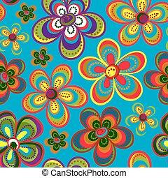 carino, fiore, fondo, colorito, hippi, primavera, seamless, retro, vector., modello, fiori