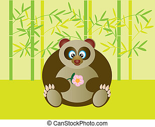 carino, fiore, panda, presa a terra, seduta