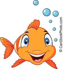 carino, fish, bolla, cartone animato, pagliaccio