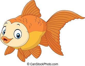 carino, fish, cartone animato, dorato