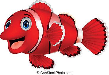 carino, fish, cartone animato, pagliaccio