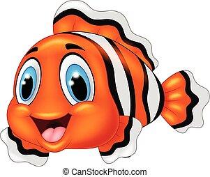 carino, fish, proposta, cartone animato, pagliaccio