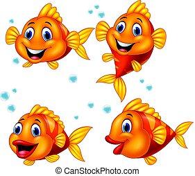 carino, fish, set, cartone animato, collezione