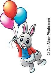 carino, fondo, volare, coniglio, bianco, palloni