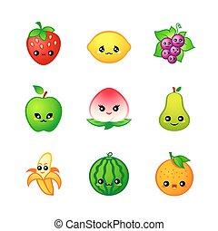 carino, frutte, icone