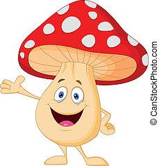 carino, fungo, cartone animato