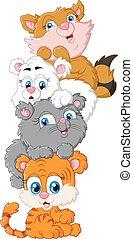 carino, gatti, cartone animato