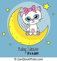carino, gatto, cartone animato, luna