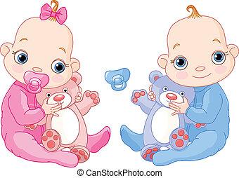 carino, gemelli, con, giocattoli