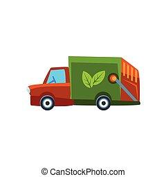 carino, giocattolo, immondizia, automobile, camion, arancia, icona