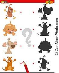 carino, gioco, uggia, cartone animato, cani