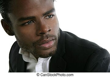 carino, giovane, americano, nero, africano, ritratto, uomo