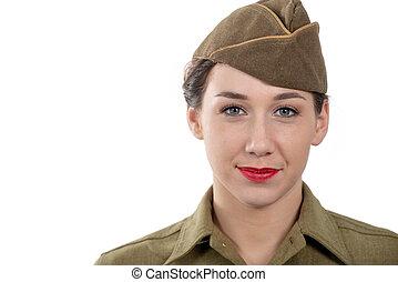 carino, giovane, in, wwii, uniforme, ci, con, guarnigione,...