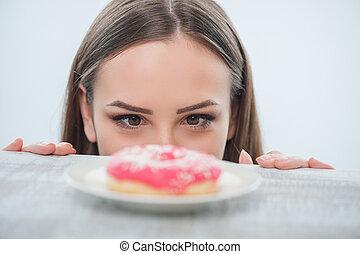 carino, giovane, wants, mangiare, cibo dolce