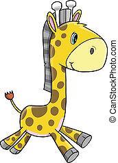 carino, giraffa, vettore, animale