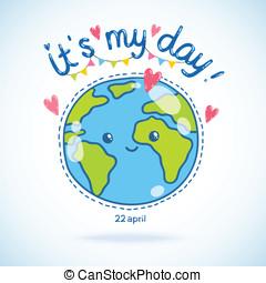 carino, globe., cartone animato, fondo., giorno terra