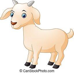 carino, goat, cartone animato