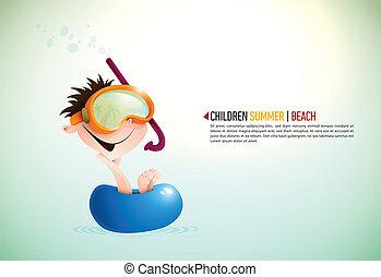 carino, godere, ragazzo, spiaggia, estate