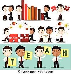 carino, grande, set, lavorare duro, insieme, loro, vettore, lavoro squadra, costruire, uomo affari