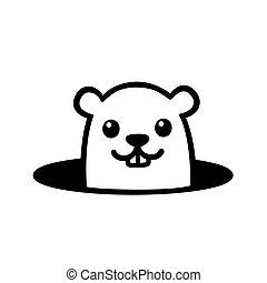 carino, groundhog, cartone animato