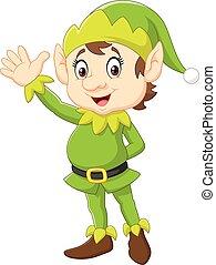 carino, h, elfo, natale, ondeggiare, cartone animato