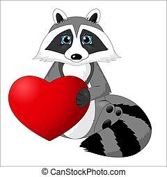 carino, heart., illustrazione, cartone animato, fidanzato, presa a terra, procione, giorno