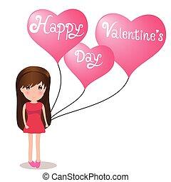 carino, heart., s, presa a terra, ragazza, valentine', palloni, giorno, felice