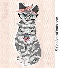 carino, hipster, gatto