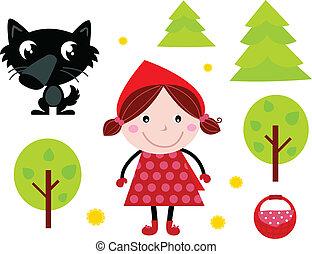 carino, icone, &, accessori, wold, cappuccio, sentiero per cavalcate, rosso