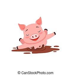 carino, il bagnarsi, divertente, stagno, illustrazione, maiale, vettore, sporco, animale, cartone animato, felice