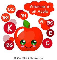 carino, illustration., apple., contenuto vitamina, bambini, fruits.