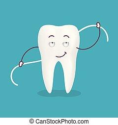 carino, illustration., dentale, isolato, dente, fondo., filo seta, vettore, cartone animato