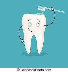 carino, illustration., dentifricio, esso, isolato, spazzolino, fondo., vettore, sorridente, dente, relativo, cartone animato, felice