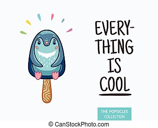 carino, illustration., ghiacciolo, ghiaccio, vettore, crema, pinguino