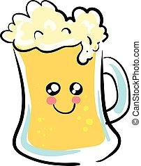 carino, illustration., immagine colore, birra, vettore, o